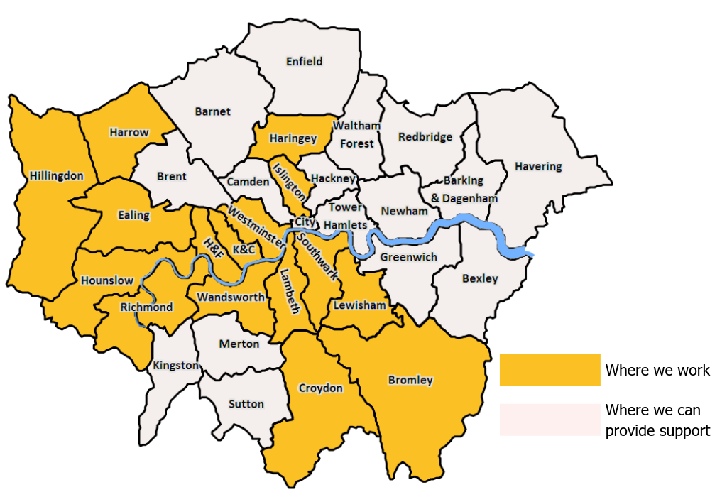 Certitude London works across 16 London boroughs